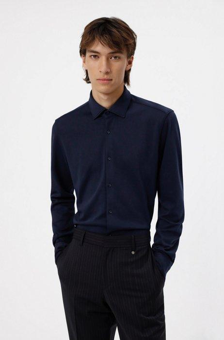 Slim-fit shirt in cotton jersey, Dark Blue