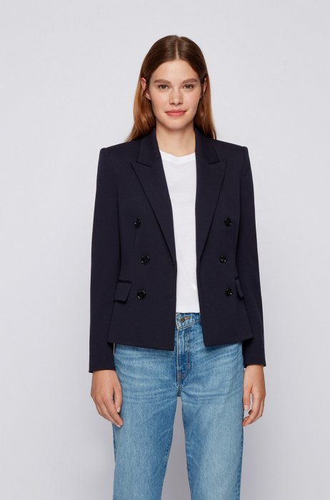 Regular-fit double-breasted jacket in stretch fabric, Dark Blue