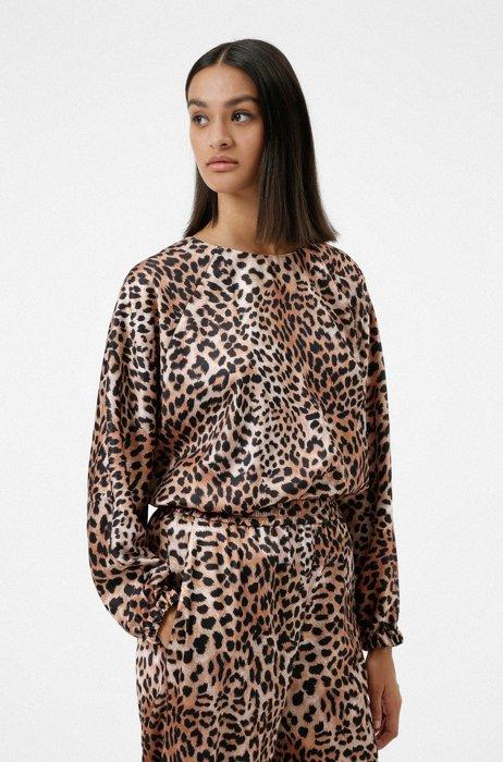 Relaxed-Fit Top aus Satin mit Leoparden-Print, Gemustert