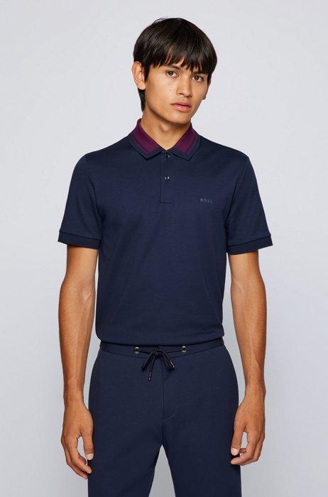 Slim-fit polo shirt in organic cotton, Dark Blue