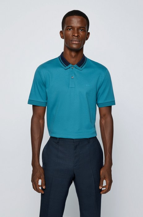 Slim-fit polo shirt in organic cotton, Blue