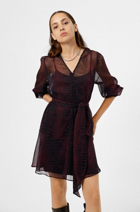 Relaxed-fit shirt dress in crocodile-print recycled fabric, A disegni