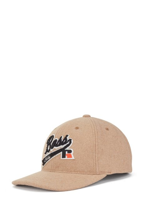 Wool-touch cap with exclusive logo, Beige