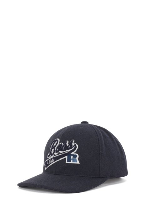 Wool-touch cap with exclusive logo, Dark Blue