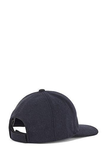 独家徽标羊毛质感鸭舌帽,  410_Navy