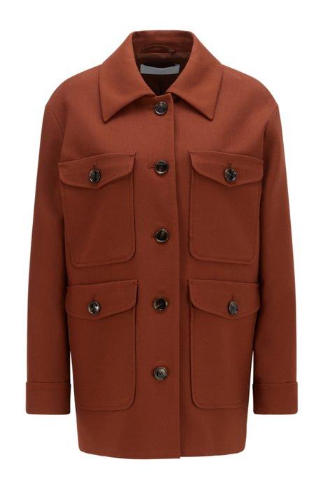 Field jacket relaxed fit in misto cotone elasticizzato, Marrone