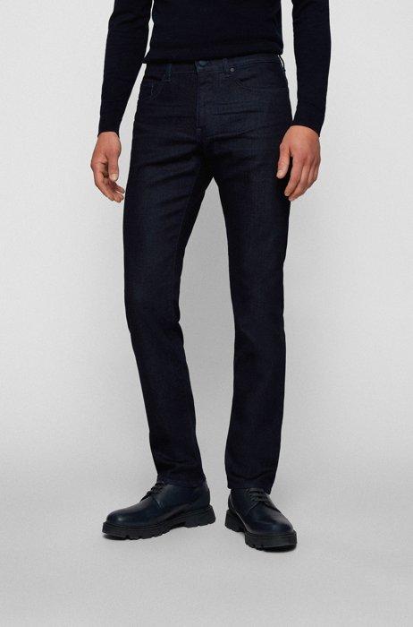 Slim-fit jeans van donkerblauw zacht geborsteld denim, Donkerblauw