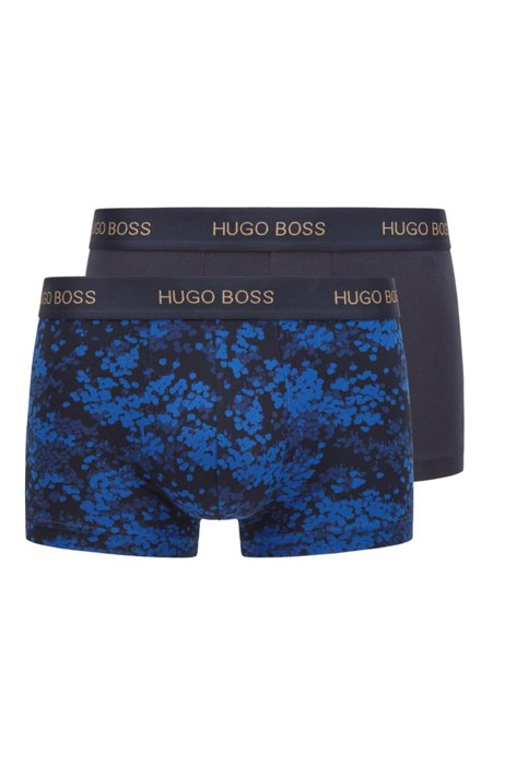 Two-pack of trunks with repeat-logo waistbands, Light Blue