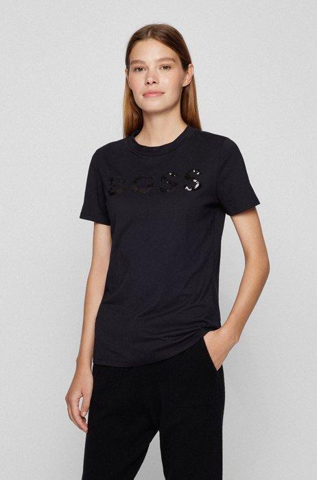 T-shirt van biologische katoen met paillettenlogo, Zwart