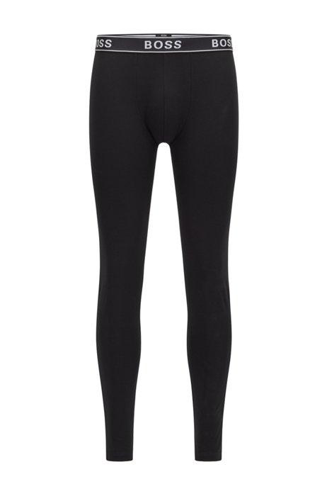Lange Unterhose aus elastischer Bio-Baumwolle mit Logo am Bund, Schwarz