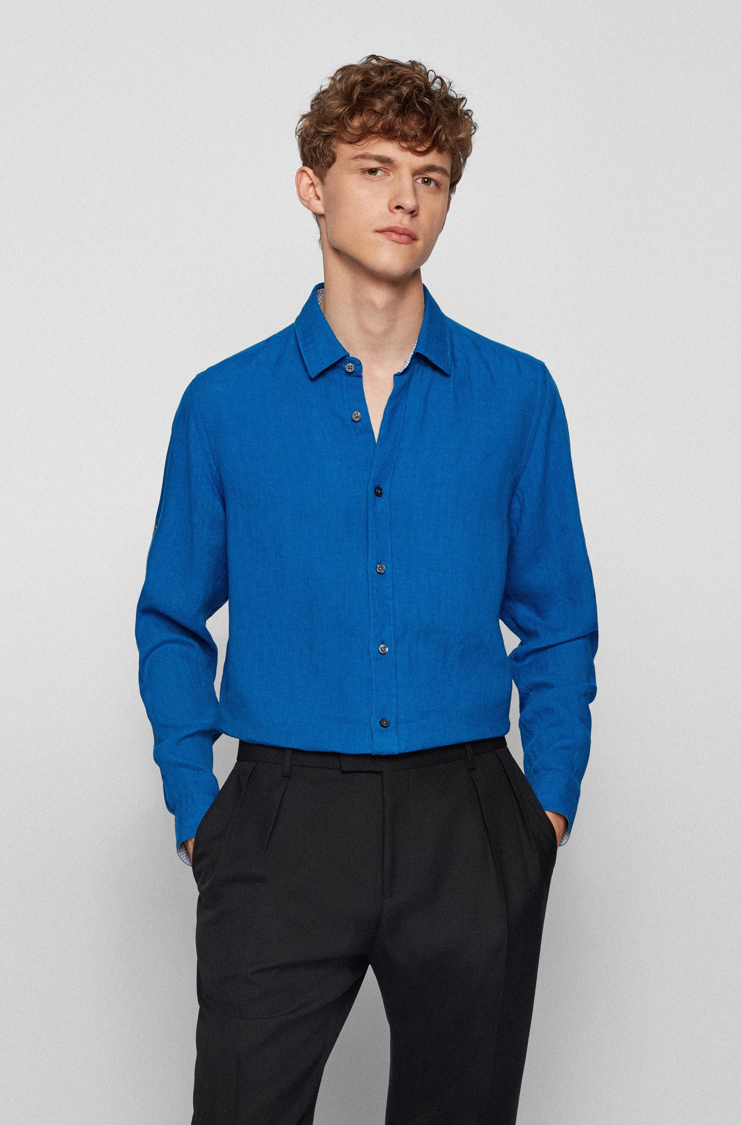 Regular-fit shirt in washed linen chambray, Blue