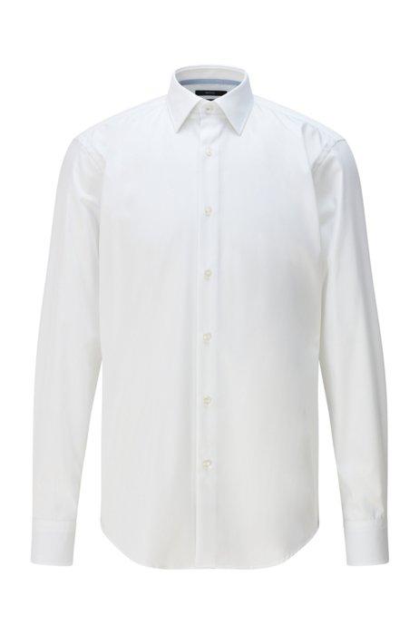 Chemise Regular Fit en popeline de coton facile à repasser, Blanc