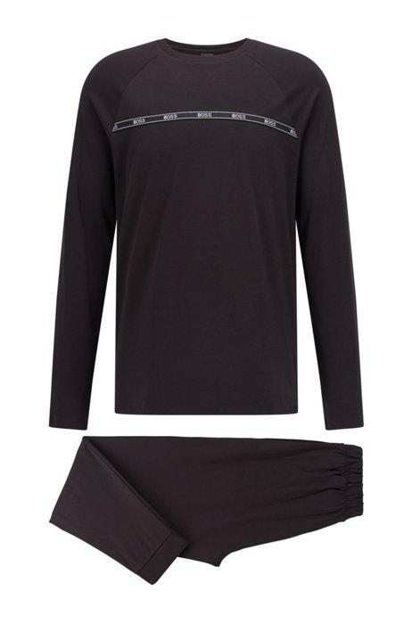 Organic-cotton pyjama set with logo artwork, Black
