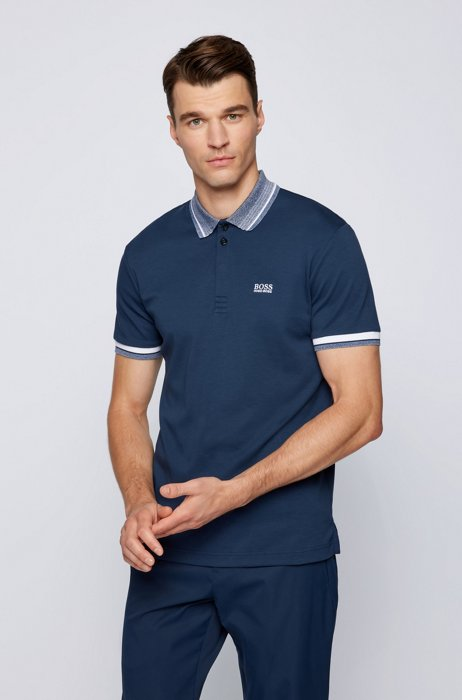 Patterned-collar polo shirt in organic cotton, Dark Blue