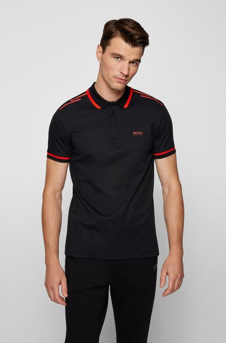 Organic-cotton polo shirt with logo and printed stripes, Black