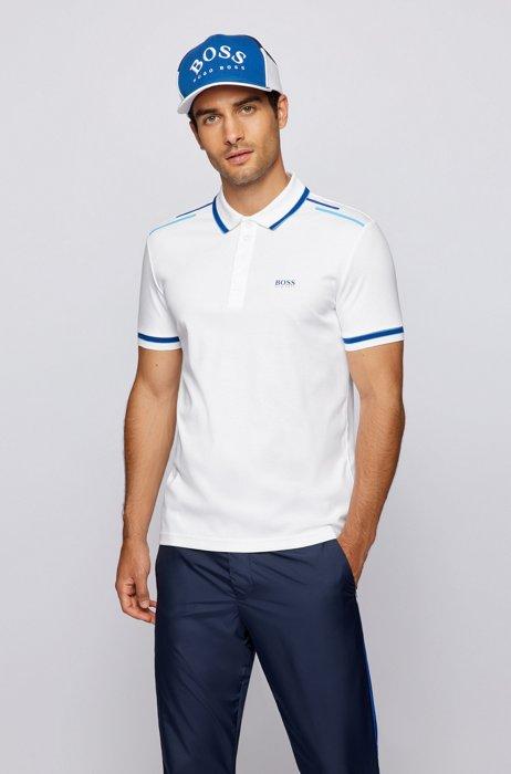 Polo en coton biologique avec logo et rayures imprimées, Blanc