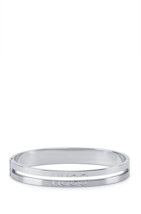 Bracelet en acier inoxydable avec logo divisé, Argent