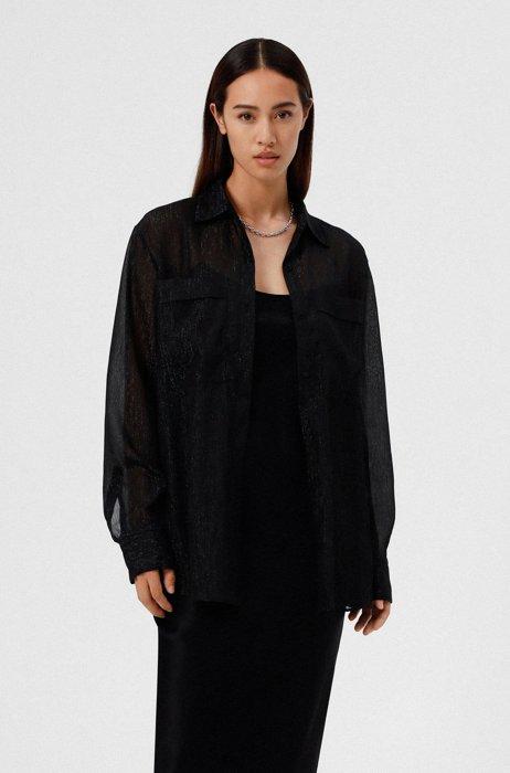 Transparente Relaxed-Fit Bluse aus schimmerndem Gewebe, Schwarz