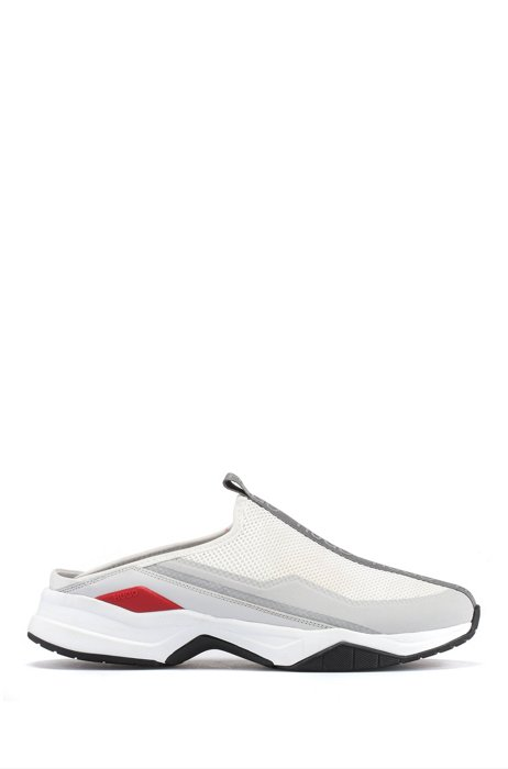Hybrid slip-on trainers with logo tape, White
