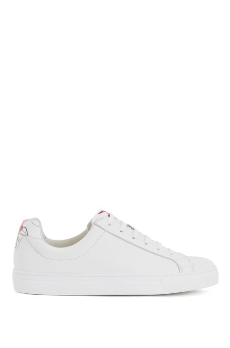 Tumbled-leather trainers with low profile, White
