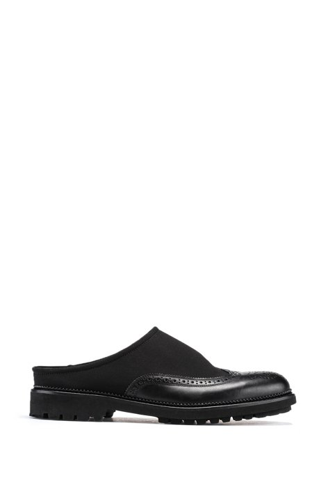 Slip-on shoes in mixed materials with brogueing, Black