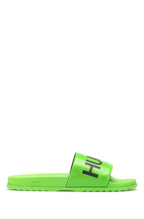 Italian-made slides with contrast logo, Green
