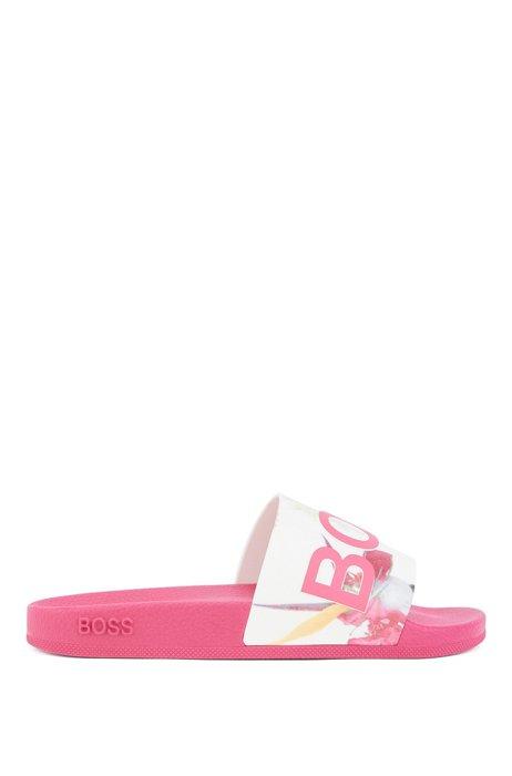 Logo slides with floral-print strap, Pink