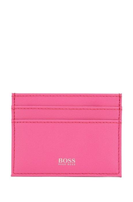Porte-cartes en cuir avec logo métallisé, Rose