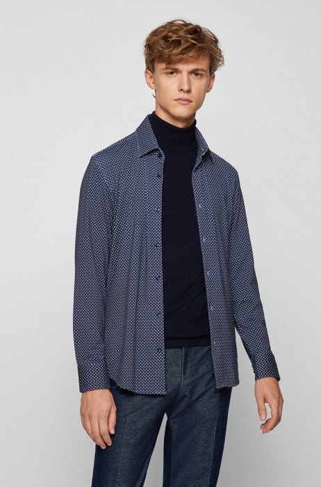 Camicia slim fit con stampa geometrica in jersey elasticizzato ad alte prestazioni, Blu scuro
