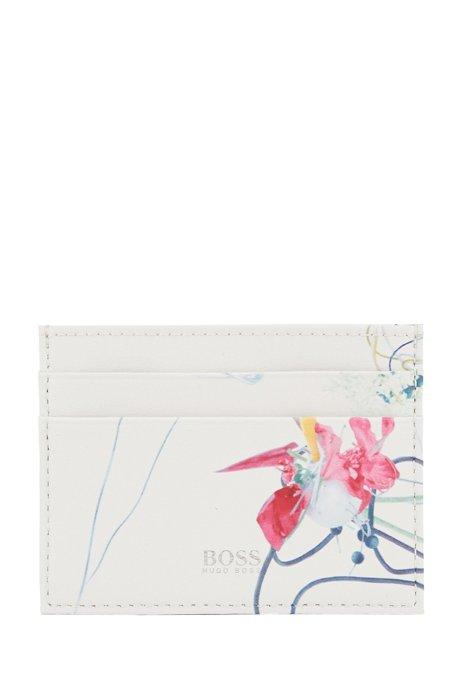 Pasjeshouder van gecoat leer met bloemenprint, Wit