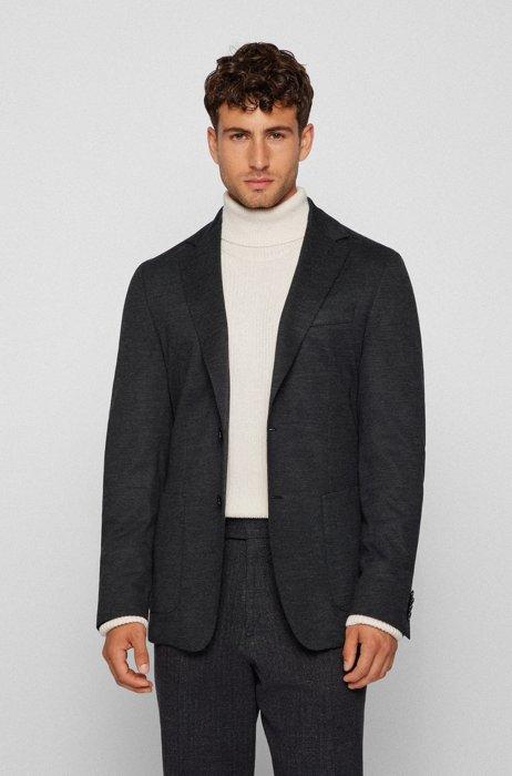 Slim-fit jacket in melange stretch jersey, Grey