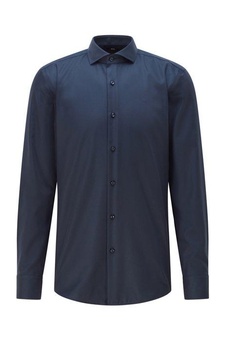 Slim-Fit Hemd aus fein strukturierter Performance-Baumwolle, Dunkelblau