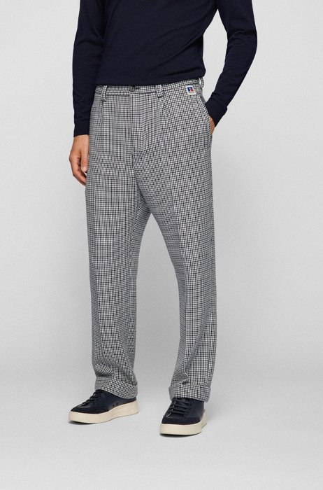 Houndstooth relaxed-fit trousers with exclusive logo, Grey