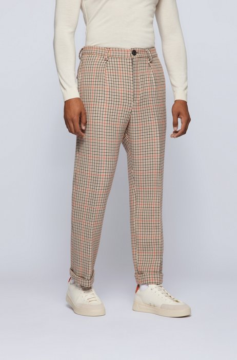 Houndstooth relaxed-fit trousers with exclusive logo, Beige