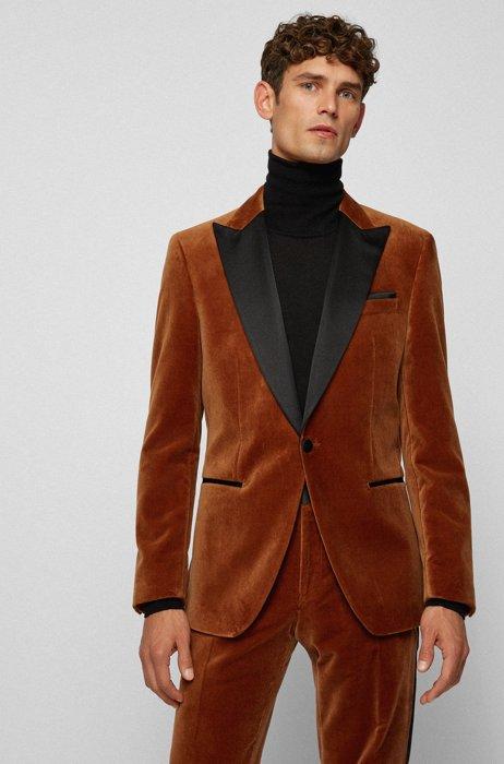 Slim-Fit Smoking-Jacke aus Baumwoll-Samt, Braun