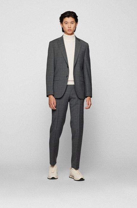 Regular-fit suit in checked responsible virgin wool, Grey