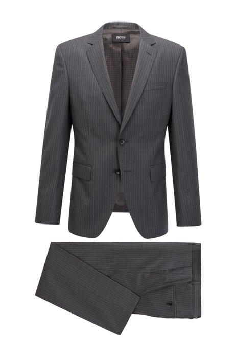 Slim-fit suit in striped virgin wool, Grey