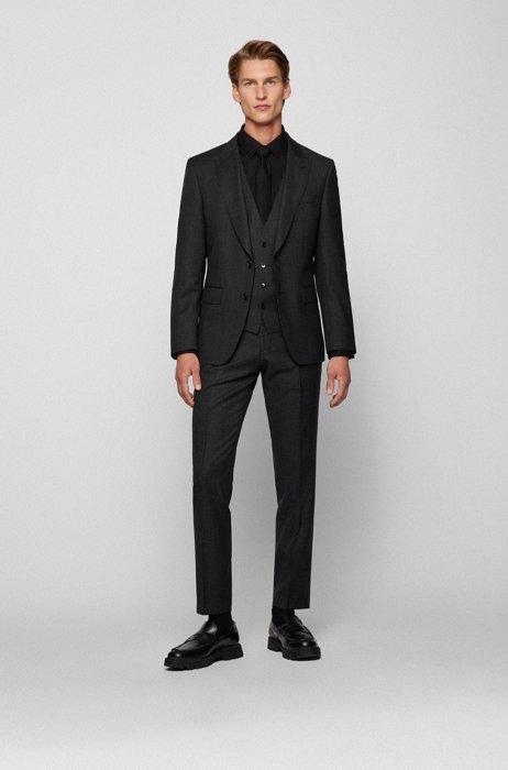 Slim-fit three-piece suit in checked virgin wool, Black