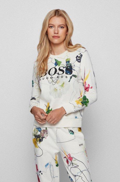 Sweatshirt aus French-Terry-Baumwolle mit Blumen-Print, Gemustert