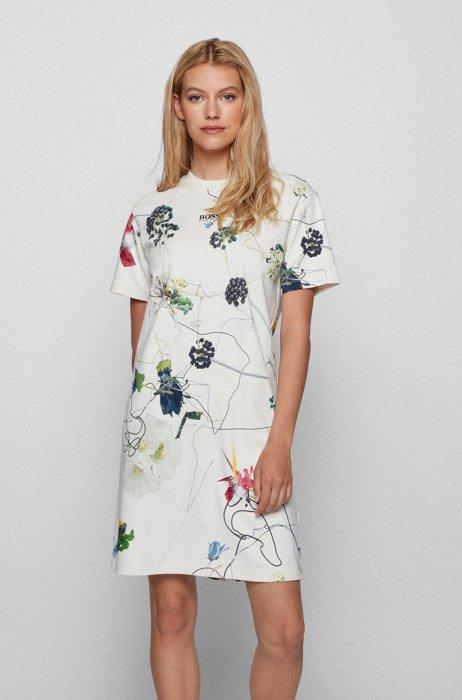 Vestito stile T-shirt in cotone intrecciato con stampa a fiori, A disegni