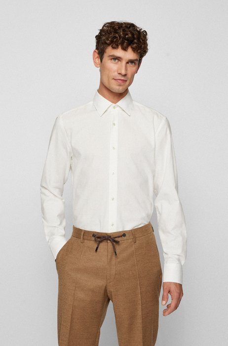 Long-sleeved slim-fit shirt in panama cotton, White