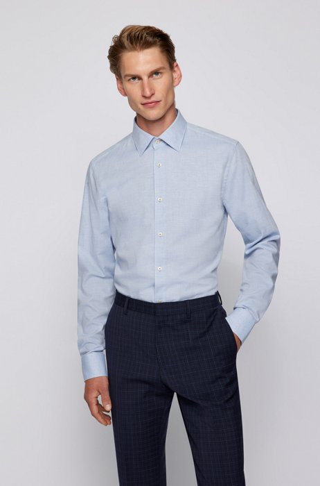 Long-sleeved slim-fit shirt in panama cotton, Light Blue