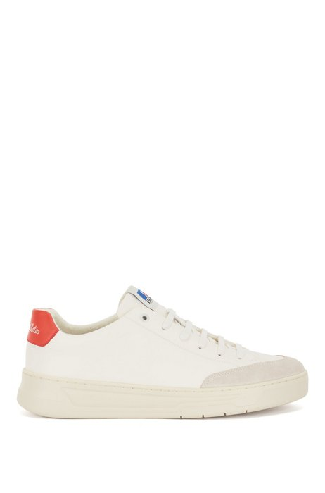 Lace-up trainers in mixed materials with exclusive logo, White