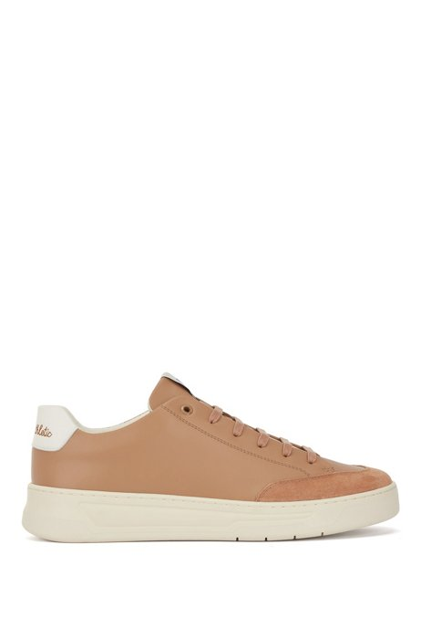 Lace-up trainers in mixed materials with exclusive logo, Beige
