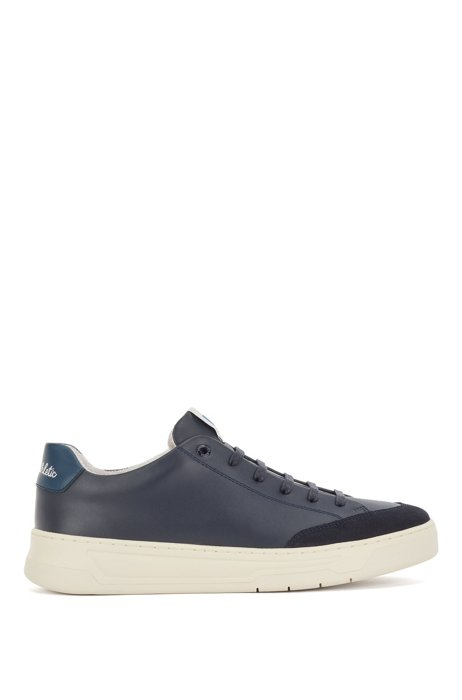Lace-up trainers in mixed materials with exclusive logo, Dark Blue