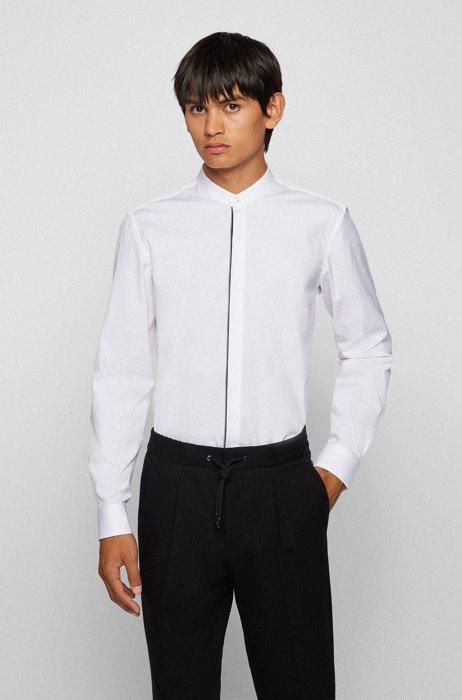 Slim-Fit Smoking-Hemd aus Stretch-Baumwolle mit Logo-Paspeln, Weiß