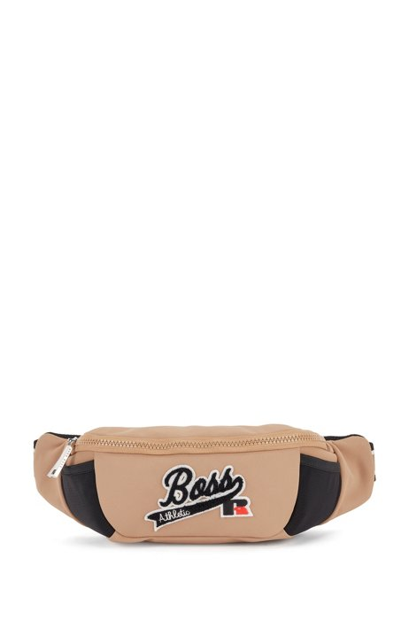 Belt bag in structured recycled fabric with exclusive logo, Beige