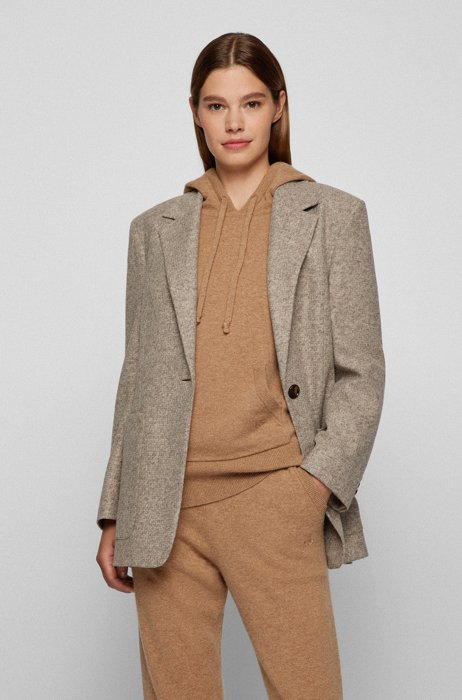 Relaxed-fit jacket in micro-patterned jersey, Beige