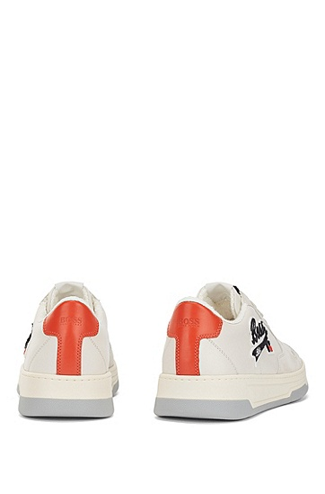 意大利制造的带有专属标志的皮革绒面革运动鞋,  110_Open White