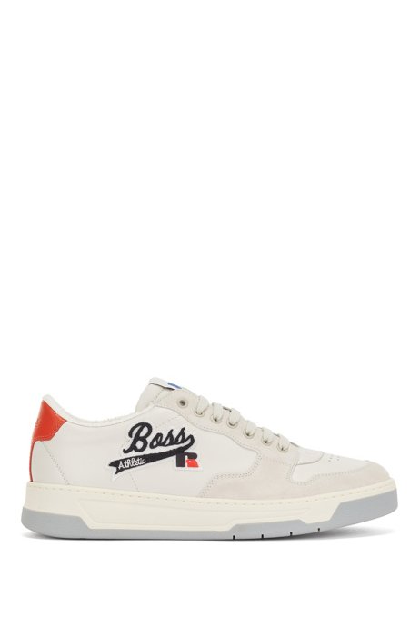 Italian-made leather-suede trainers with exclusive logo, White